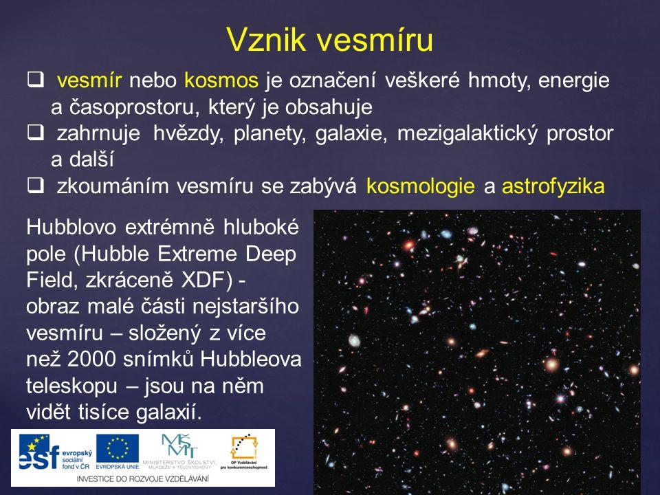 Vznik vesmíru vesmír nebo kosmos je označení veškeré hmoty, energie a časoprostoru, který je obsahuje.