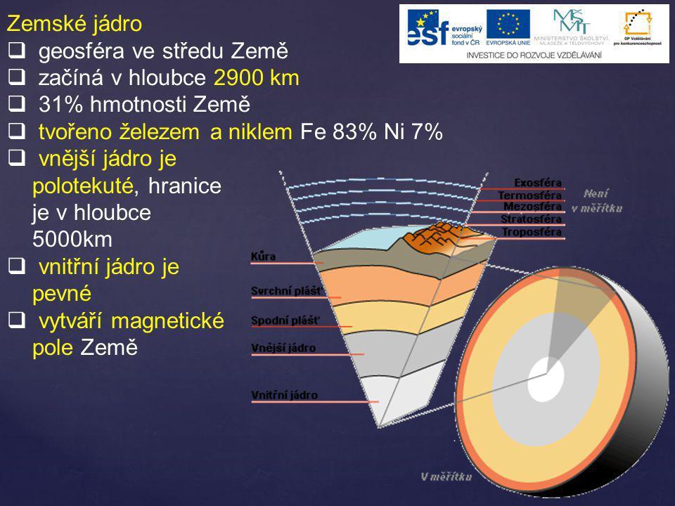 Zemské jádro geosféra ve středu Země. začíná v hloubce 2900 km. 31% hmotnosti Země. tvořeno železem a niklem Fe 83% Ni 7%