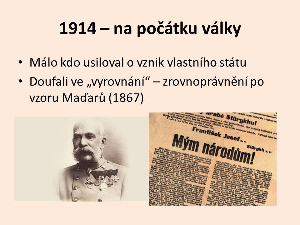 1914 – na počátku války Málo kdo usiloval o vznik vlastního státu