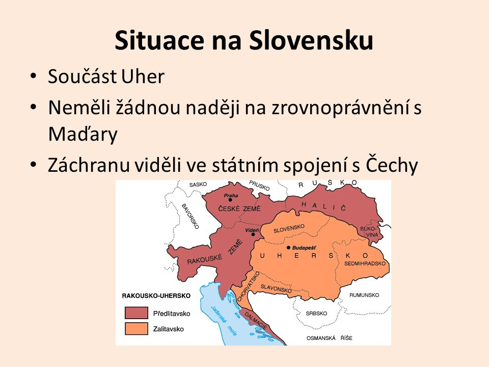 Situace na Slovensku Součást Uher