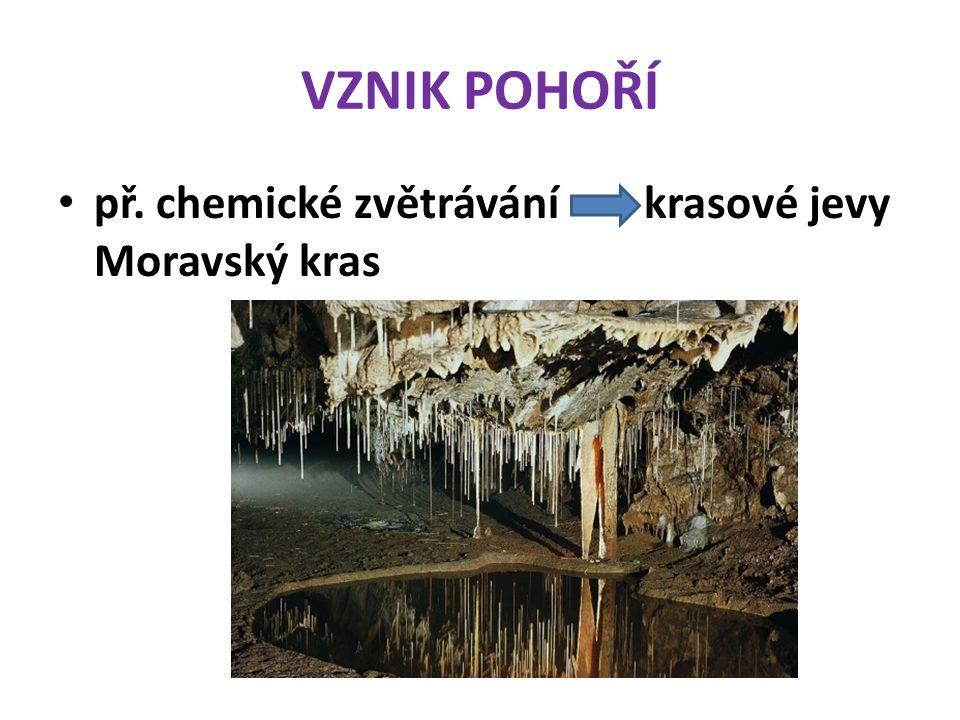 VZNIK POHOŘÍ př. chemické zvětrávání krasové jevy Moravský kras