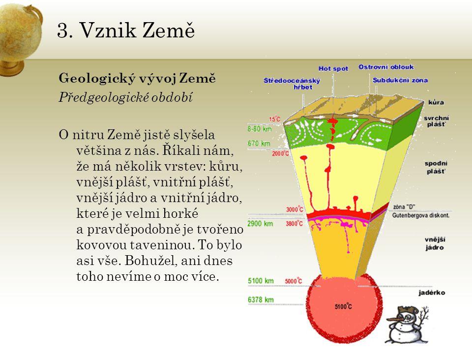 3. Vznik Země Geologický vývoj Země Předgeologické období