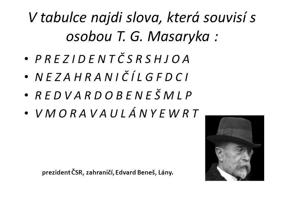 V tabulce najdi slova, která souvisí s osobou T. G. Masaryka :