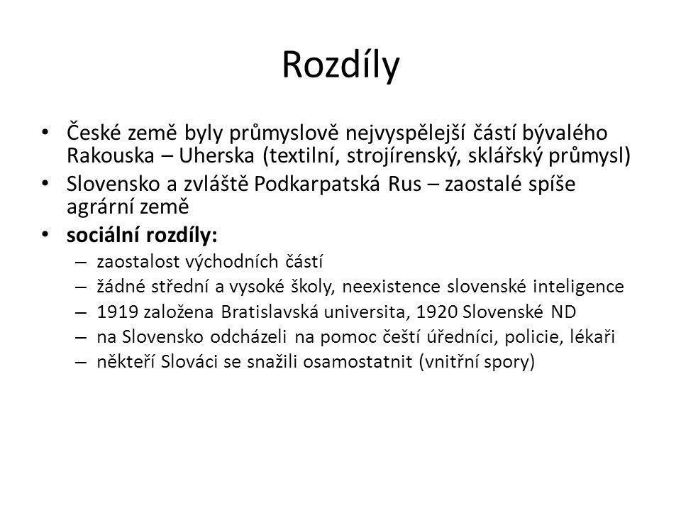 Rozdíly České země byly průmyslově nejvyspělejší částí bývalého Rakouska – Uherska (textilní, strojírenský, sklářský průmysl)