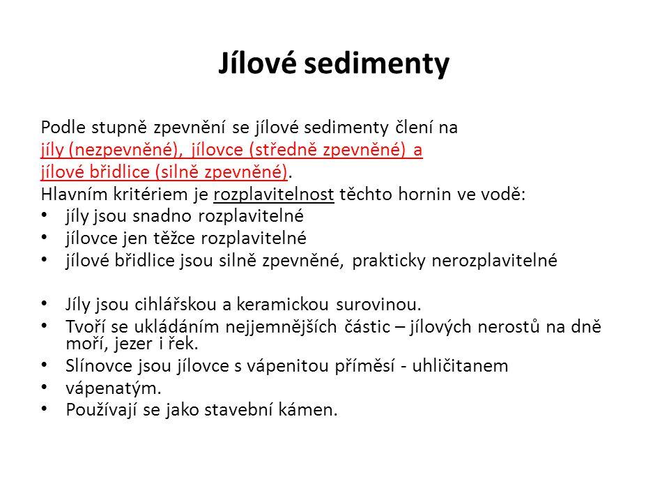 Jílové sedimenty Podle stupně zpevnění se jílové sedimenty člení na