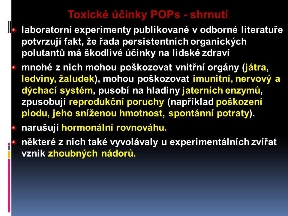 Toxické účinky POPs - shrnutí