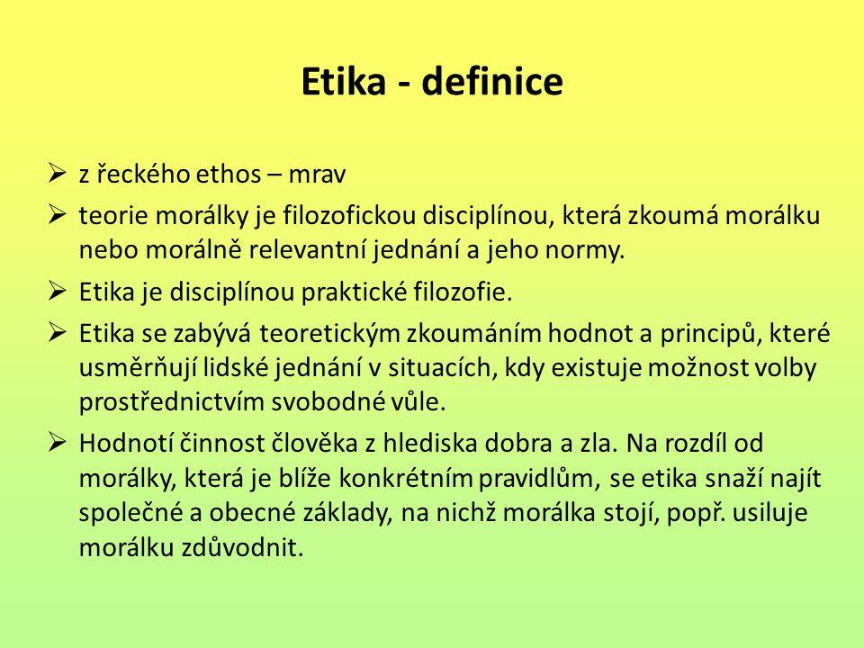 Etika - definice z řeckého ethos – mrav