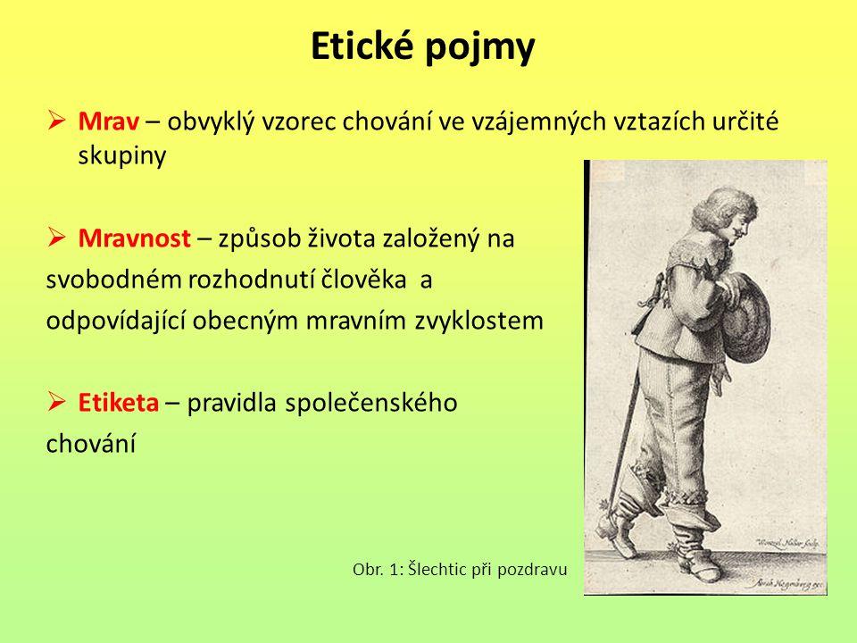 Etické pojmy Mrav – obvyklý vzorec chování ve vzájemných vztazích určité skupiny. Mravnost – způsob života založený na.