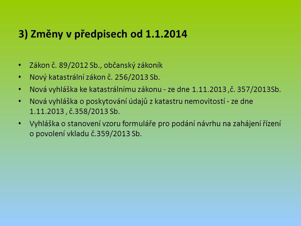 3) Změny v předpisech od 1.1.2014 Zákon č. 89/2012 Sb., občanský zákoník. Nový katastrální zákon č. 256/2013 Sb.