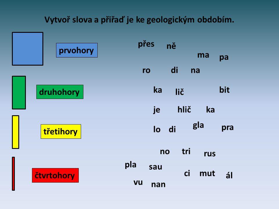Vytvoř slova a přiřaď je ke geologickým obdobím.