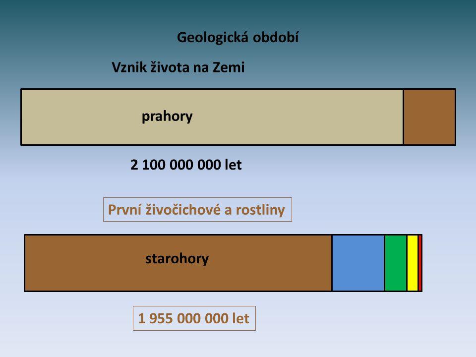 Geologická období Vznik života na Zemi. prahory. 2 100 000 000 let. První živočichové a rostliny.