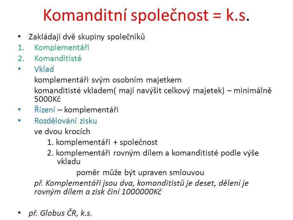 Komanditní společnost = k.s.