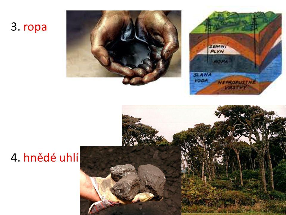 3. ropa 4. hnědé uhlí