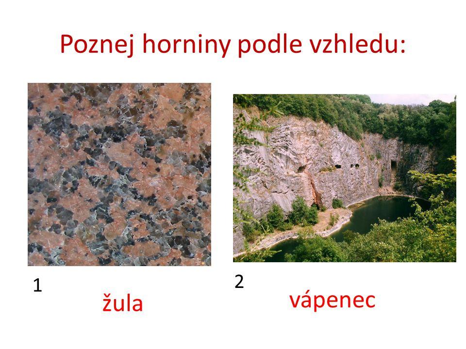 Poznej horniny podle vzhledu: