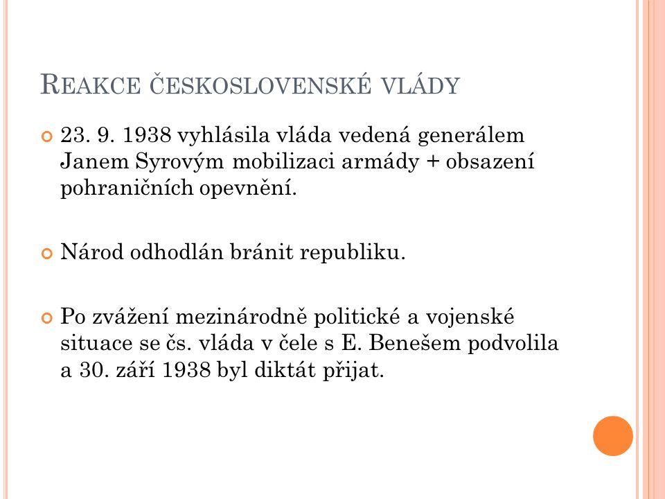Reakce československé vlády