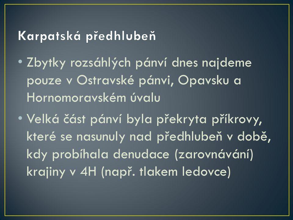Karpatská předhlubeň Zbytky rozsáhlých pánví dnes najdeme pouze v Ostravské pánvi, Opavsku a Hornomoravském úvalu.