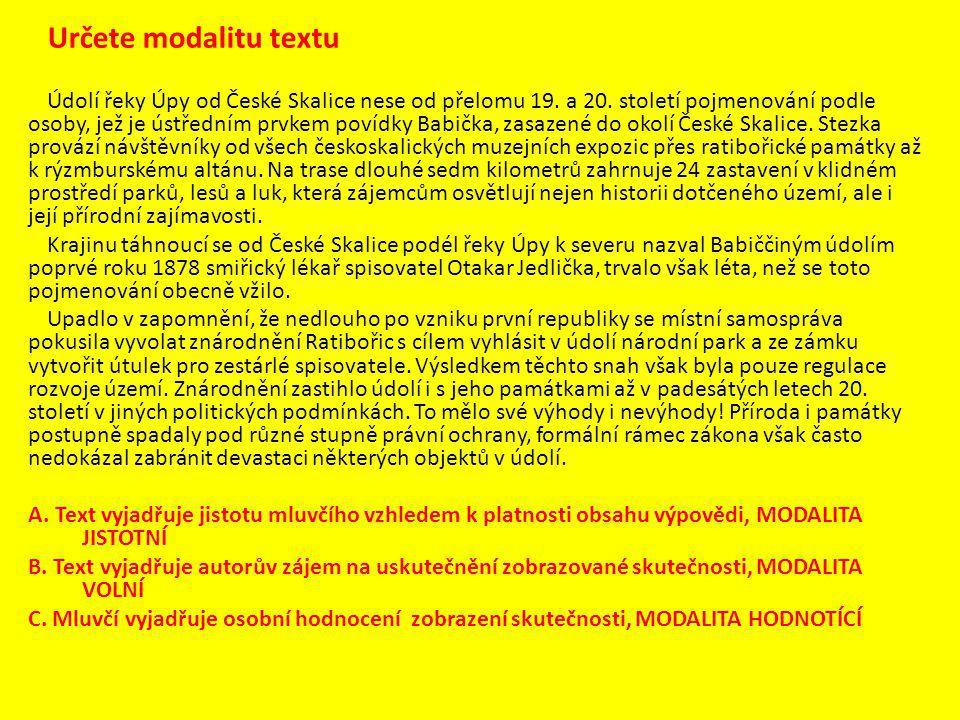Určete modalitu textu