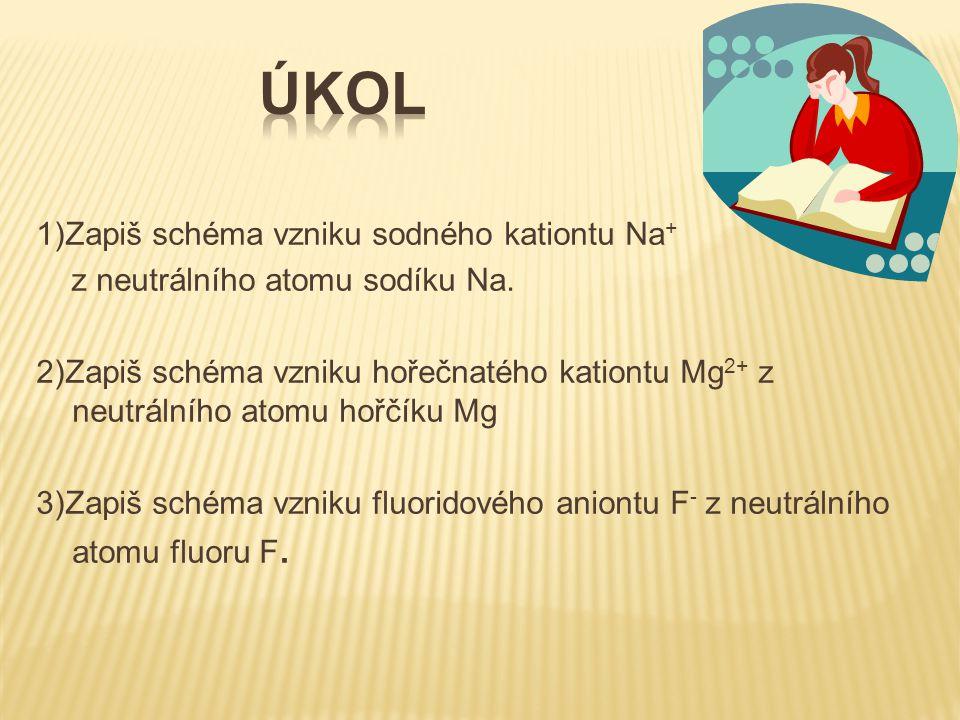 Úkol 1)Zapiš schéma vzniku sodného kationtu Na+