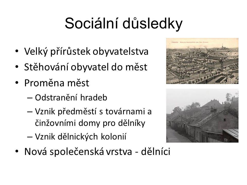 Sociální důsledky Velký přírůstek obyvatelstva