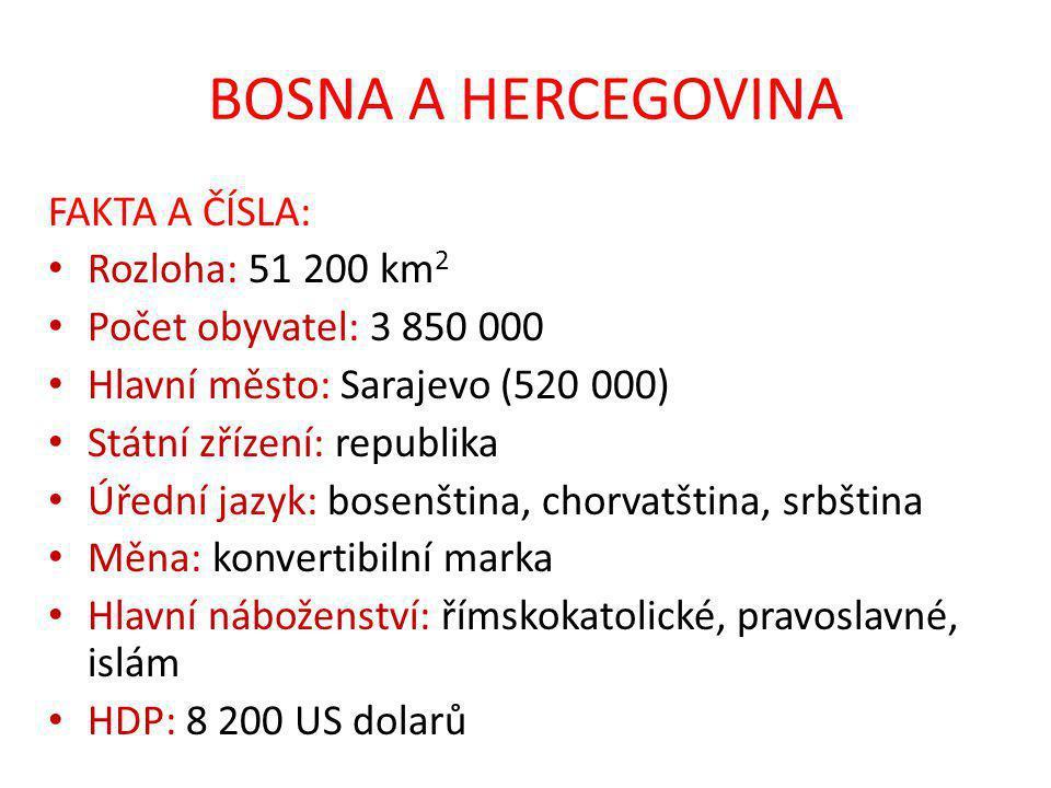 BOSNA A HERCEGOVINA FAKTA A ČÍSLA: Rozloha: 51 200 km2