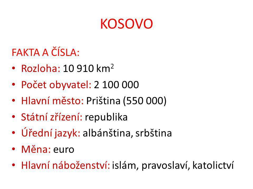 KOSOVO FAKTA A ČÍSLA: Rozloha: 10 910 km2 Počet obyvatel: 2 100 000