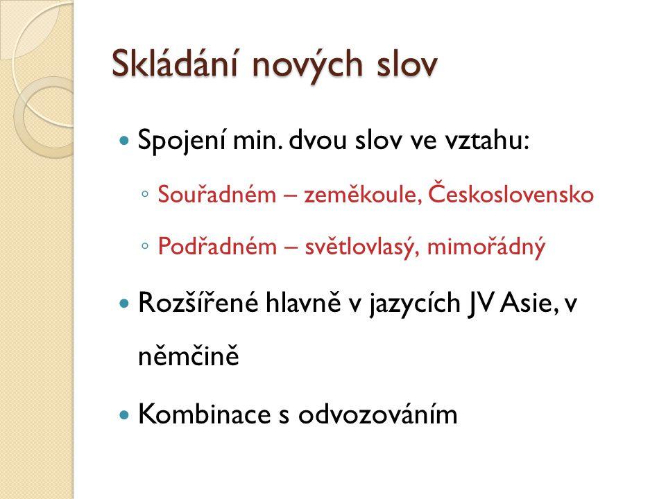 Skládání nových slov Spojení min. dvou slov ve vztahu: