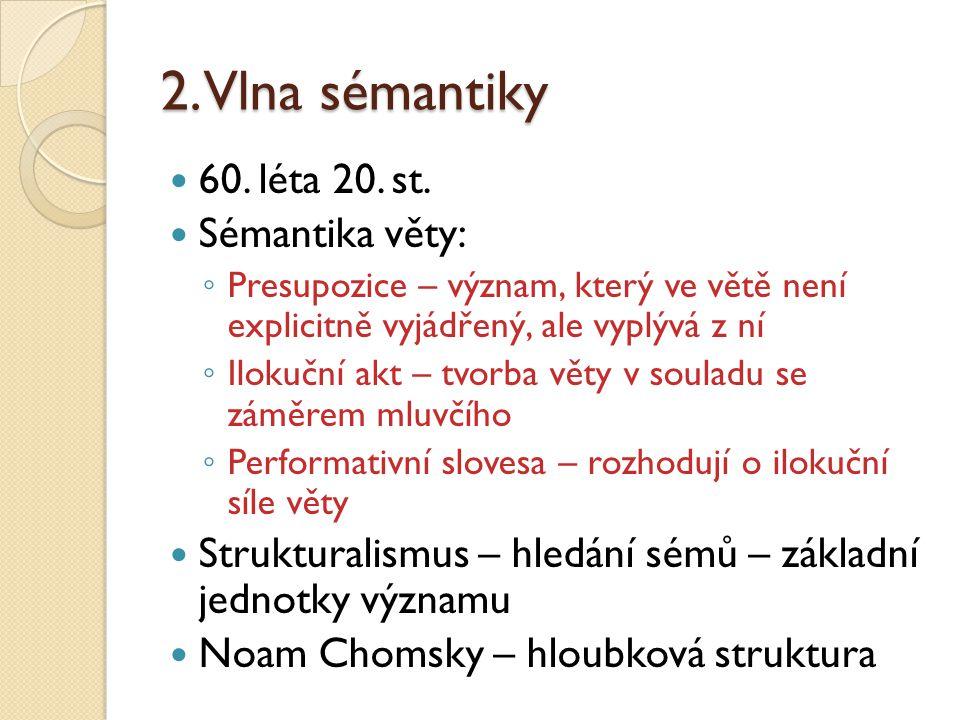 2. Vlna sémantiky 60. léta 20. st. Sémantika věty: