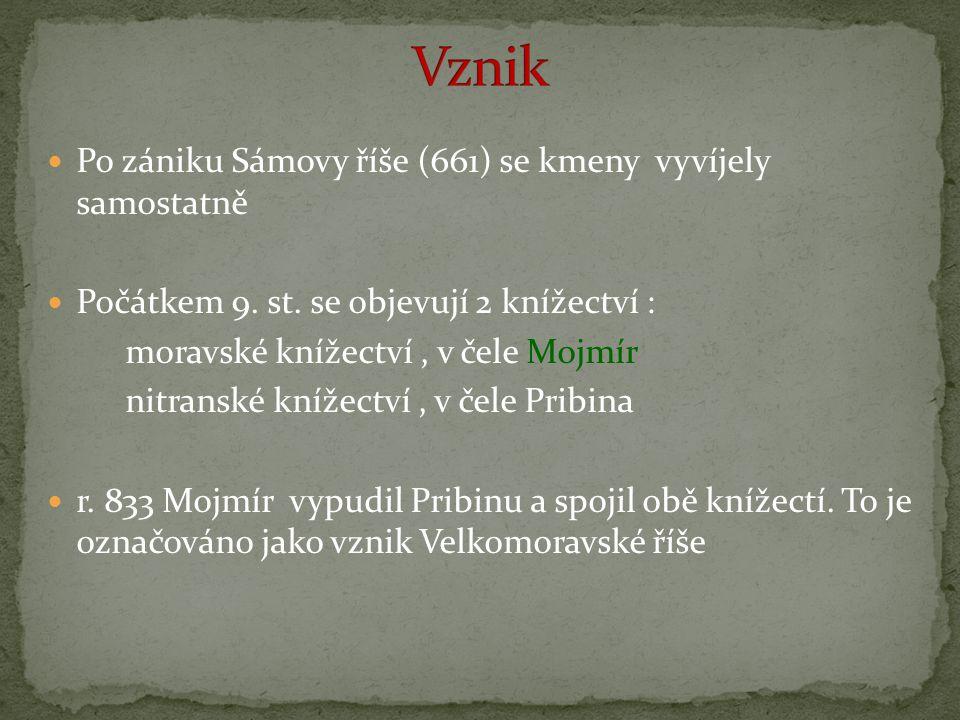 Vznik Po zániku Sámovy říše (661) se kmeny vyvíjely samostatně