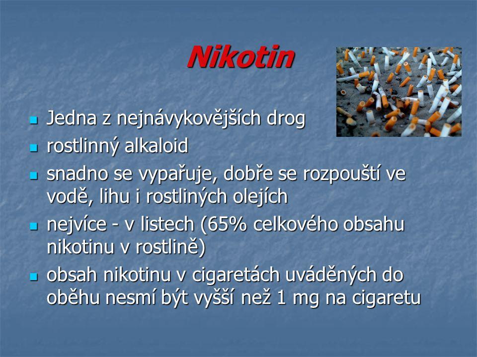Nikotin Jedna z nejnávykovějších drog rostlinný alkaloid