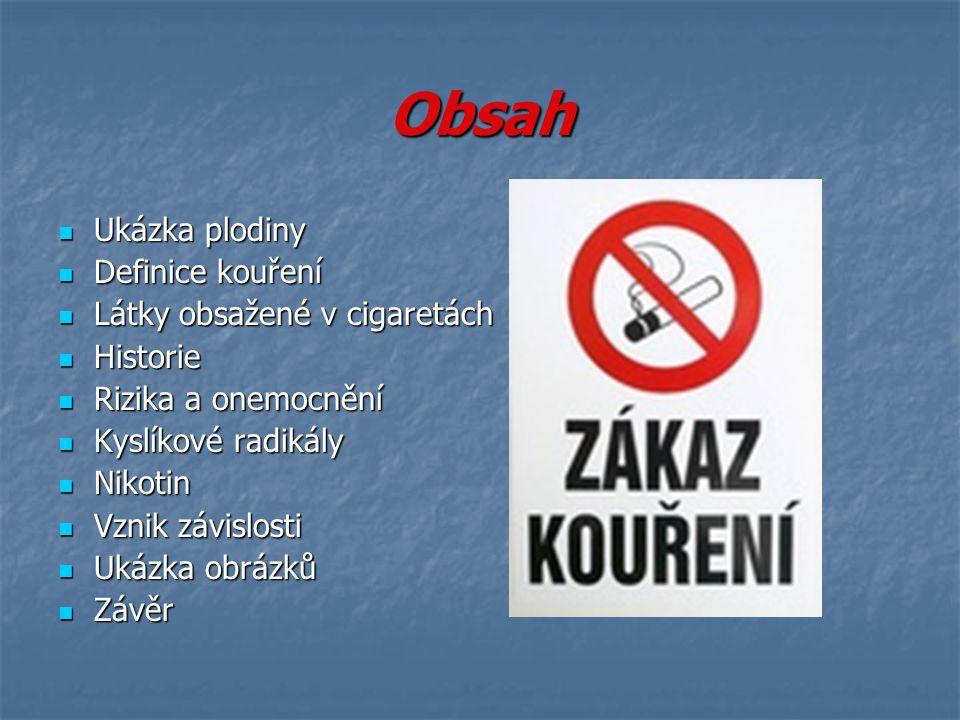 Obsah Ukázka plodiny Definice kouření Látky obsažené v cigaretách