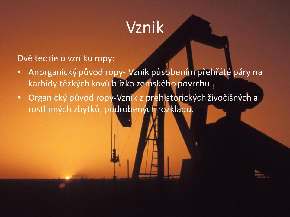 Vznik Dvě teorie o vzniku ropy: