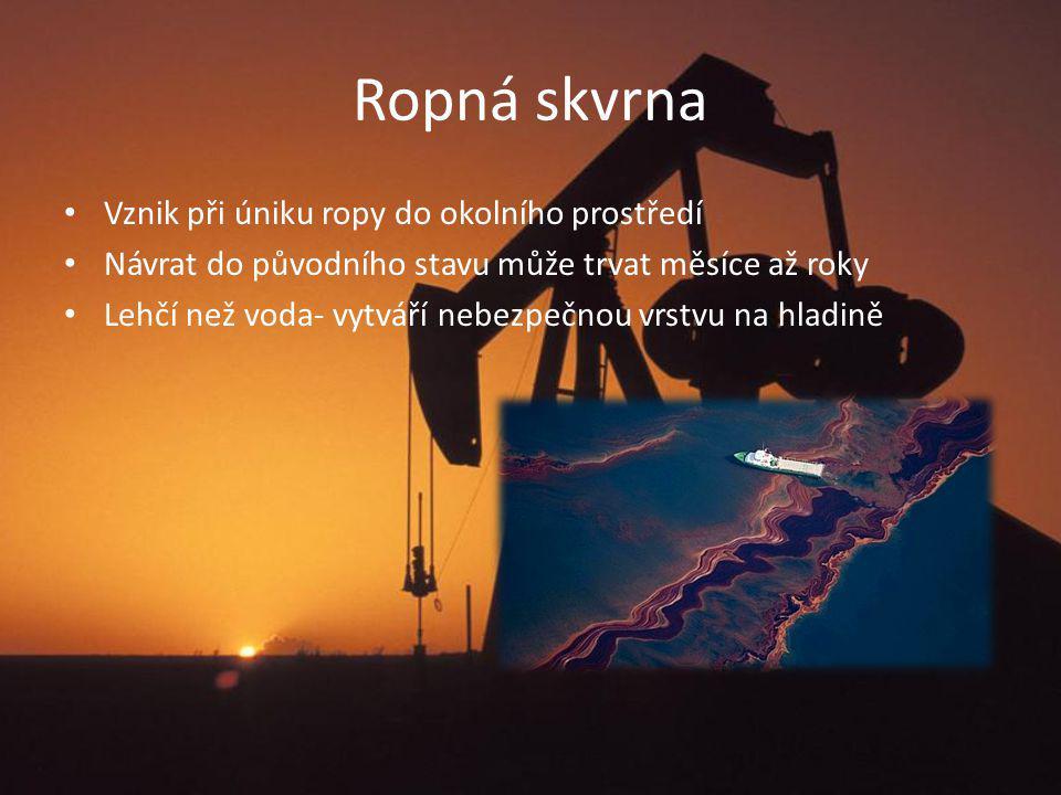 Ropná skvrna Vznik při úniku ropy do okolního prostředí