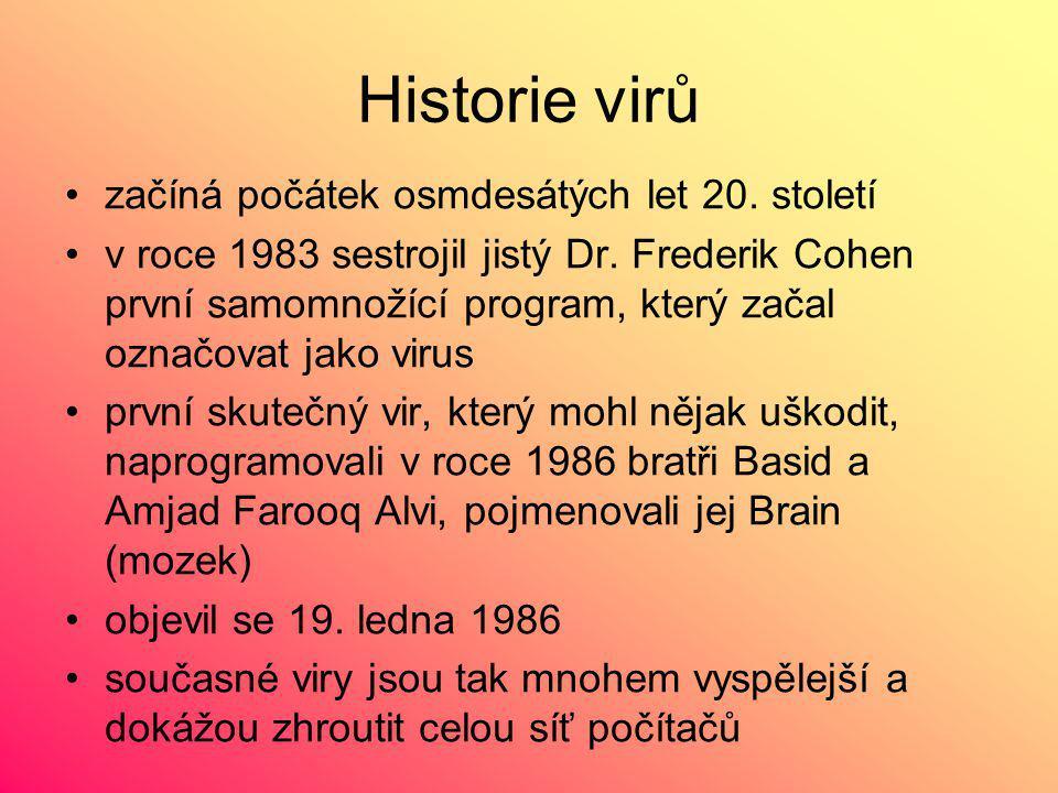 Historie virů začíná počátek osmdesátých let 20. století