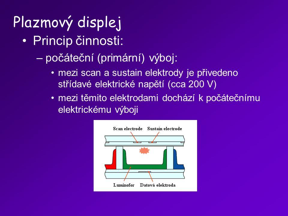 Plazmový displej Princip činnosti: počáteční (primární) výboj: