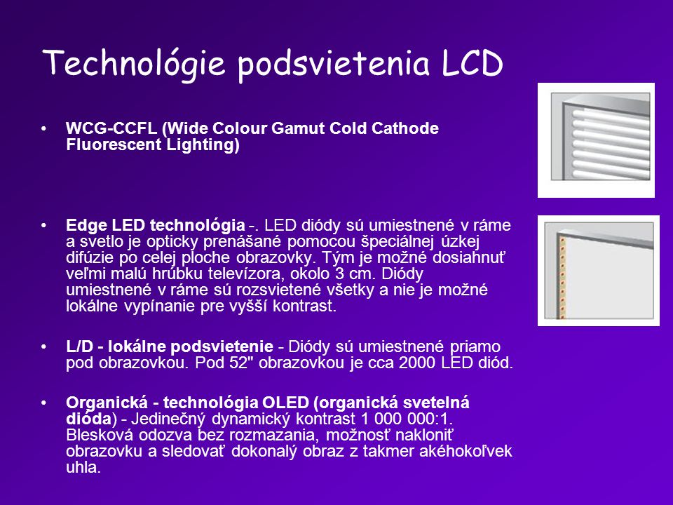 Technológie podsvietenia LCD