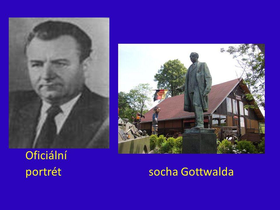 Oficiální portrét socha Gottwalda