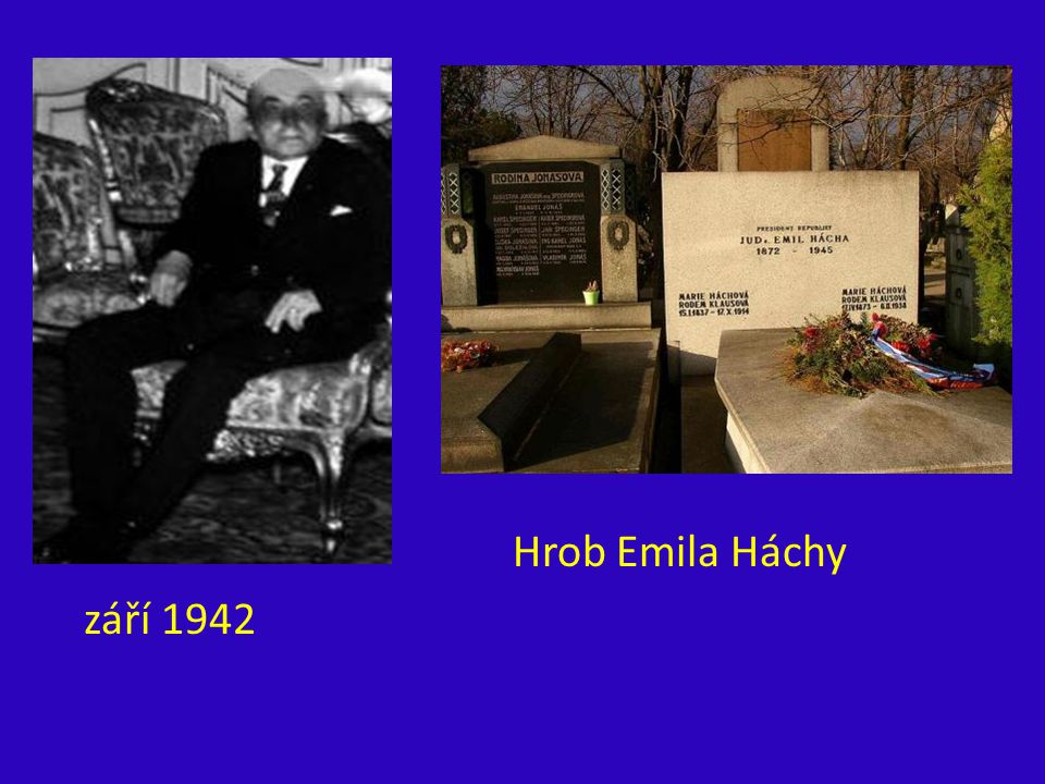 Hrob Emila Háchy září 1942