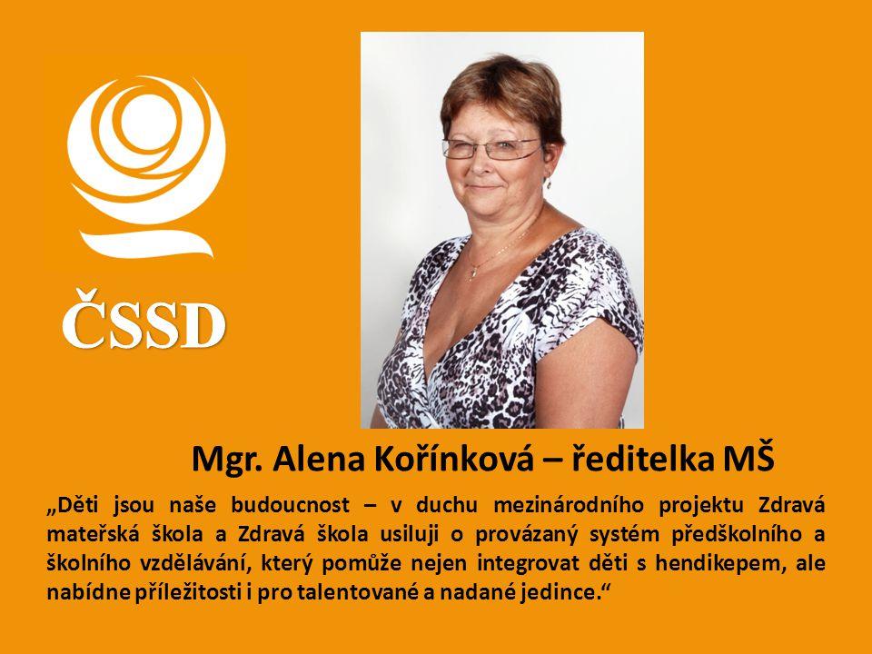 ČSSD Mgr. Alena Kořínková – ředitelka MŠ