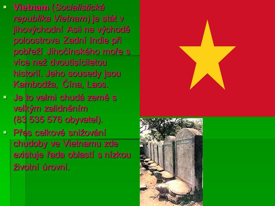 Vietnam (Socialistická republika Vietnam) je stát v jihovýchodní Asii na východě poloostrova Zadní Indie při pobřeží Jihočínského moře s více než dvoutisíciletou historií. Jeho sousedy jsou Kambodža, Čína, Laos.