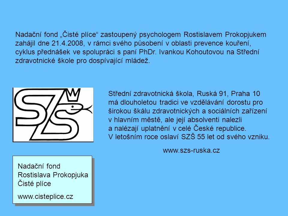 """Nadační fond """"Čisté plíce zastoupený psychologem Rostislavem Prokopjukem zahájil dne 21.4.2008, v rámci svého působení v oblasti prevence kouření, cyklus přednášek ve spolupráci s paní PhDr. Ivankou Kohoutovou na Střední zdravotnické škole pro dospívající mládež."""
