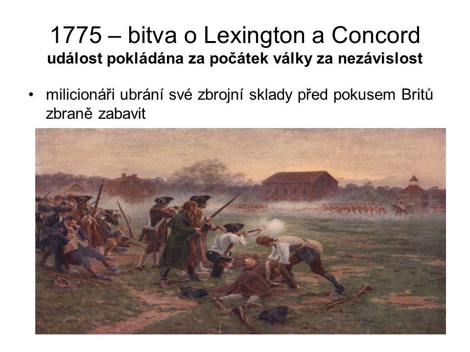 1775 – bitva o Lexington a Concord událost pokládána za počátek války za nezávislost