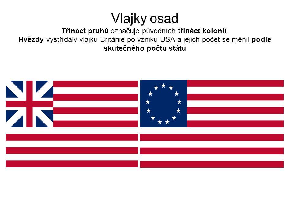 Vlajky osad Třináct pruhů označuje původních třináct kolonií