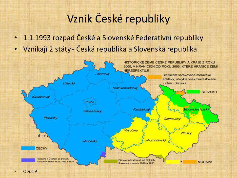 Vznik České republiky 1.1.1993 rozpad České a Slovenské Federativní republiky. Vznikají 2 státy - Česká republika a Slovenská republika.