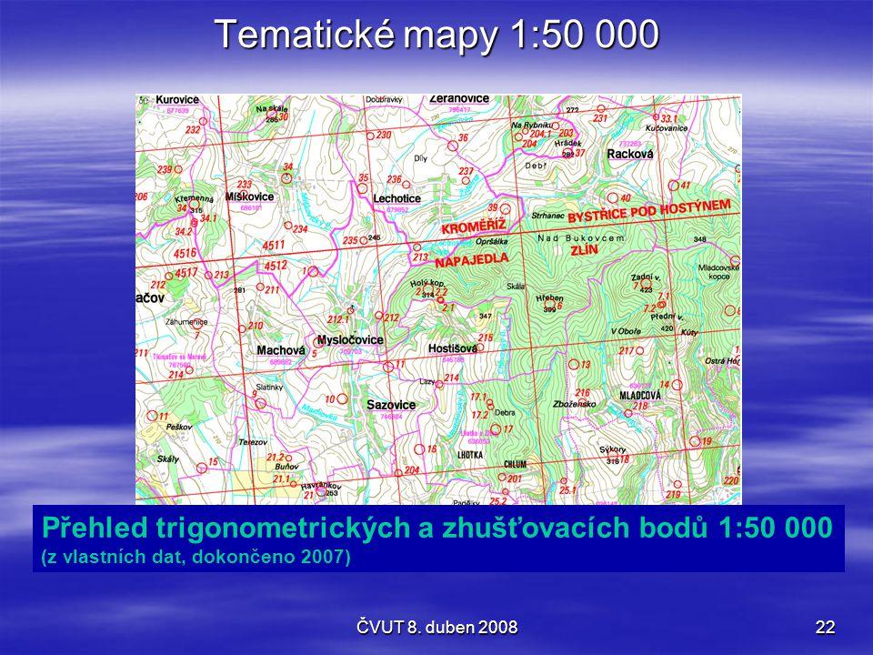 Tematické mapy 1:50 000 Přehled trigonometrických a zhušťovacích bodů 1:50 000. (z vlastních dat, dokončeno 2007)