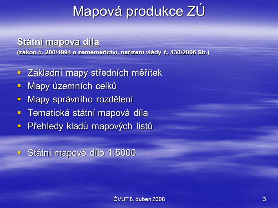 Mapová produkce ZÚ Státní mapová díla Základní mapy středních měřítek