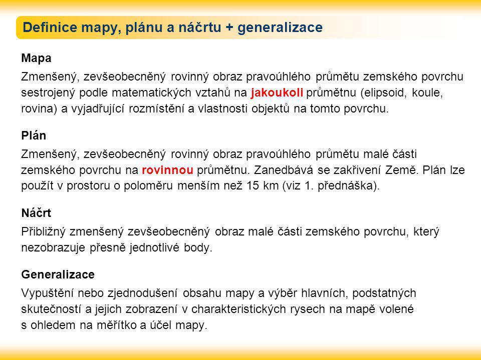 Definice mapy, plánu a náčrtu + generalizace