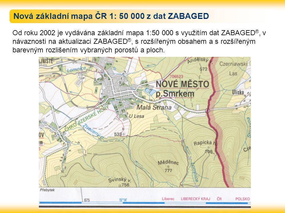 Nová základní mapa ČR 1: 50 000 z dat ZABAGED