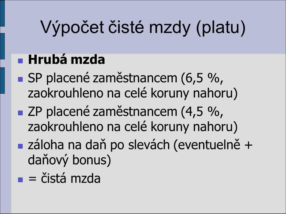 Výpočet čisté mzdy (platu)