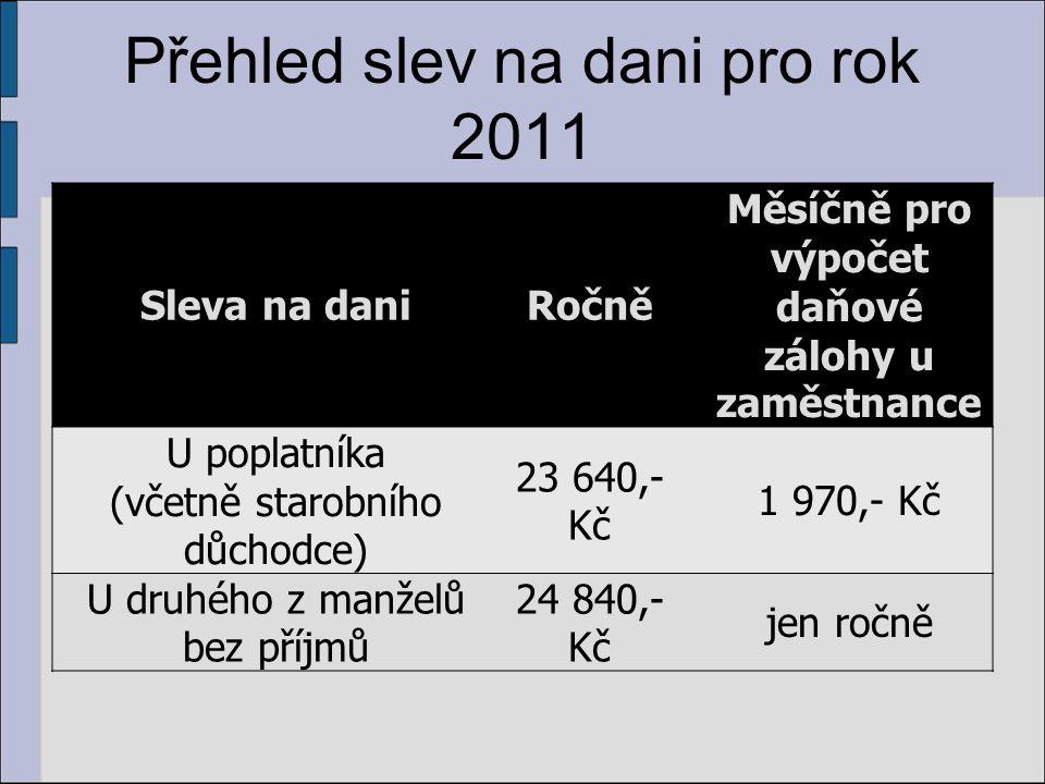 Přehled slev na dani pro rok 2011