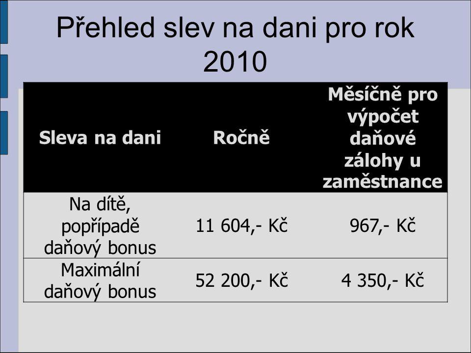 Přehled slev na dani pro rok 2010